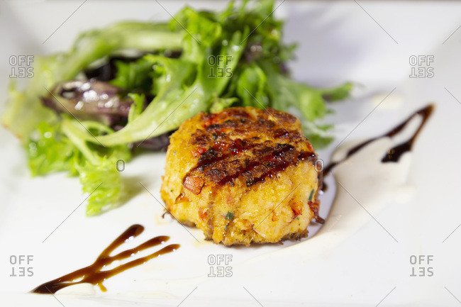 A lobster cake, an appetizer made with locally caught lobster, served in Chester, Nova Scotia, Canada, North America