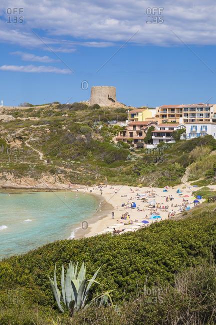 Rena Bianca beach and Longosardo (Longonsardo) Tower, Santa Teresa Gallura, Sardinia, Italy, Mediterranean, Europe