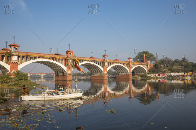 February 10, 2019: Bridge over Gomti River, Lucknow, Uttar Pradesh, India, Asia
