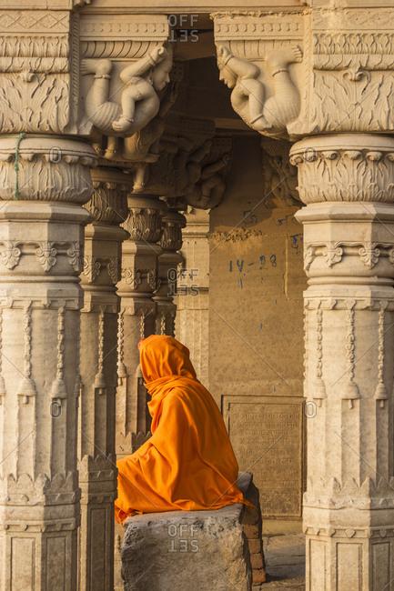 February 16, 2019: Submerged Shiva temple, Sindhia Ghat, Varanasi, Uttar Pradesh, India, Asia
