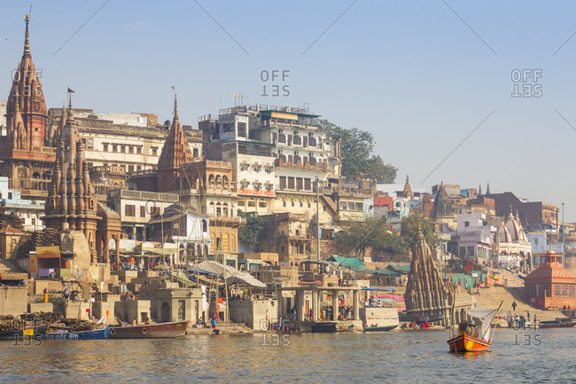 February 19, 2019: Submerged Shiva temple, Sindhia Ghat, Varanasi, Uttar Pradesh, India, Asia
