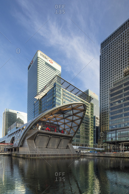 April 7, 2020: View of Norman Foster's Crossrail station in the Canary Wharf financial and business district, Docklands, Isle of Dogs, Tower Hamlets, London, England, United Kingdom, Europe