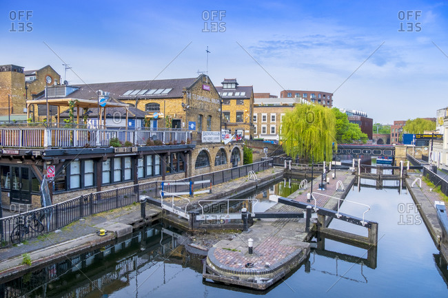 April 16, 2020: Camden Lock on the Regent's Canal, next to Camden Market, Camden Town, London, England, United Kingdom, Europe