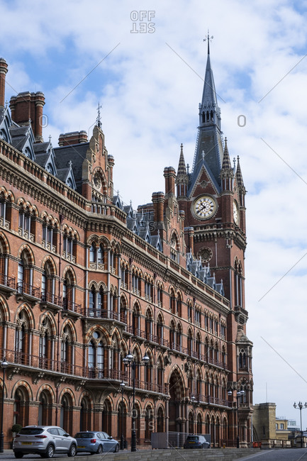 April 1, 2020: St. Pancras Eurostar rail terminal showing the Clock Tower designed by George Gilbert Scott, London, England, United Kingdom, Europe