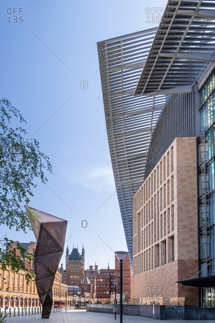 April 23, 2020: The Francis Crick Institute biomedical research center, with St. Pancras railway station in the background, King's Cross, London, England, United Kingdom, Europe