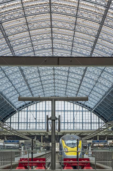 April 1, 2020: Interior of St. Pancras railway station, the Eurostar terminal, showing Victorian iron girders and Eurostar trains, London, England, United Kingdom, Europe
