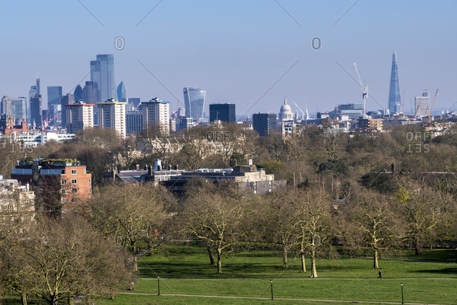 View of the city of London from Primrose Hill park, London, England, United Kingdom, Europe