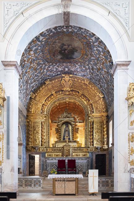 March 2, 2016: Baroque Interior of the Espinheiro Convent chapel, Evora, Alentejo, Portugal, Europe