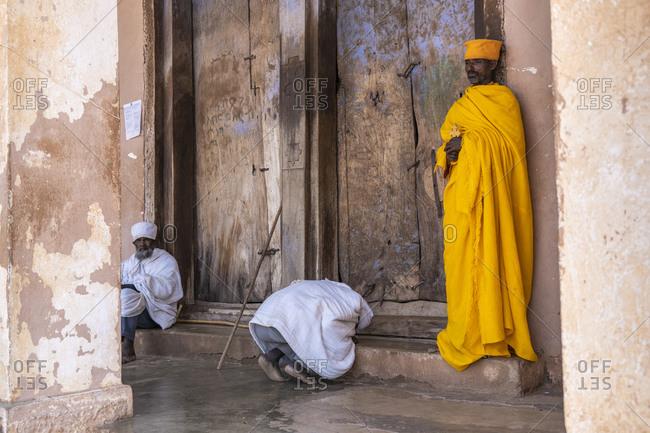 February 5, 2020: Ethiopian Orthodox priests praying, Abreha We Atsbeha church, Tigray Region, Ethiopia, Africa