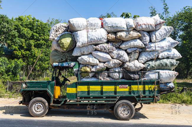 January 12, 2020: Fully loaded old truck, Mawlamyine, Mon state, Myanmar (Burma), Asia