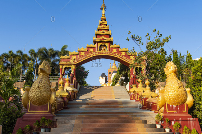 January 12, 2020: Entrance to the Ko Yin Lay Pagoda, Pupawadoy Monastery near Ye, Mon state, Myanmar (Burma), Asia