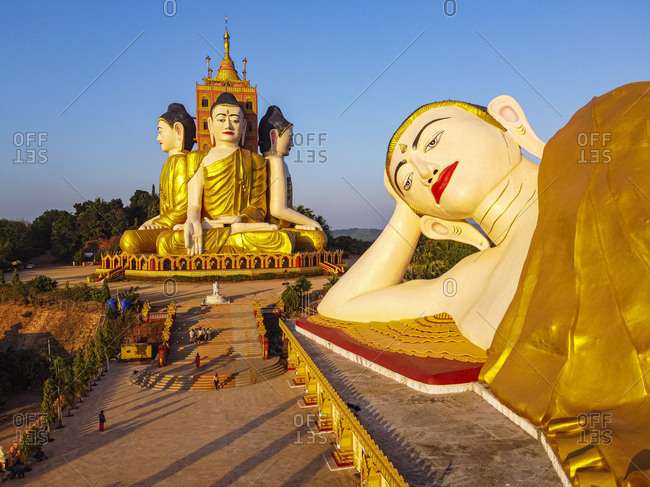 Aerial of the huge sitting and reclining Buddhas, Ko Yin Lay, Pupawadoy Monastery near Ye, Mon state, Myanmar (Burma), Asia