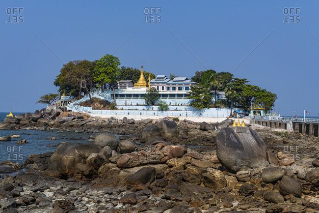 January 14, 2020: Myaw Yit Pagoda in the ocean near Dawei, Mon state, Myanmar (Burma), Asia