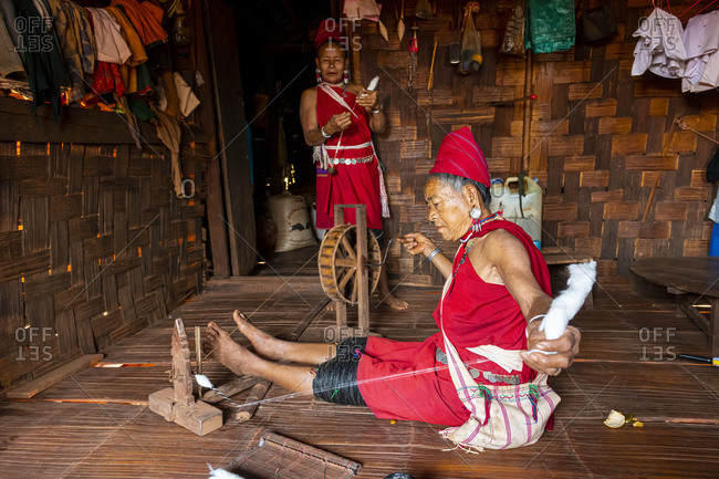 February 11, 2020: Old Kayan women weaving the traditional way, Kayah village, Loikaw area, Kayah state, Myanmar (Burma), Asia