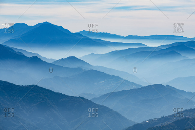 Hazy picturesque highlands of Nantou County, Taiwan, Asia