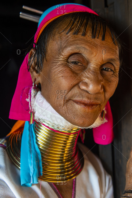 February 11, 2020: Portrait of a Padaung woman (Giraffe woman) (Long-necked woman), Loikaw area, Panpet, Kayah state, Myanmar (Burma), Asia