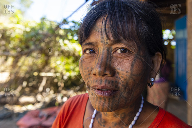February 3, 2020: Chin woman with spiderweb tattoo, Mindat, Chin state, Myanmar (Burma), Asia