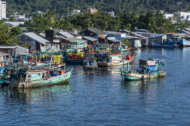 January 2, 2020: Fishing boats in the Duong Dong Fishing Harbour, island of Phu Quoc, Vietnam, Indochina, Southeast Asia, Asia