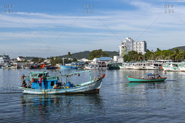 January 2, 2020: Fishing boat in the Duong Dong Fishing Harbour, island of Phu Quoc, Vietnam, Indochina, Southeast Asia, Asia