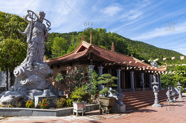 January 2, 2020: Buddha statue in the Ho Quoc Pagoda Buddhist temple, island of Phu Quoc, Vietnam, Indochina, Southeast Asia, Asia