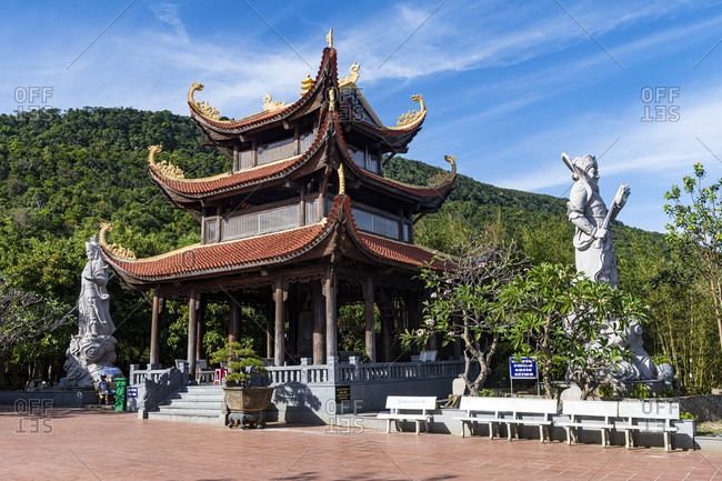 January 2, 2020: Ho Quoc Pagoda Buddhist temple, island of Phu Quoc, Vietnam, Indochina, Southeast Asia, Asia