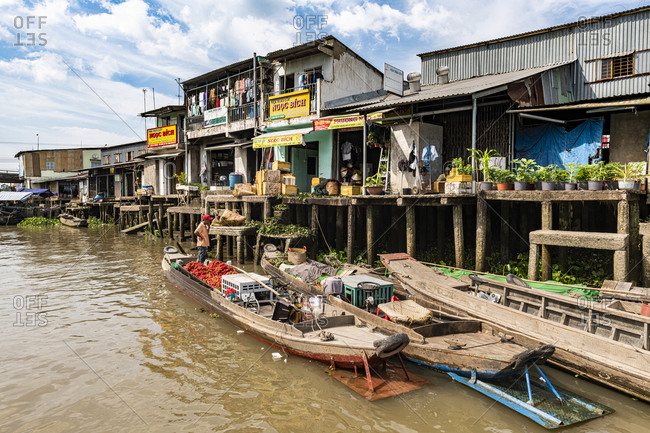 January 3, 2020: Houses on stilts, Cai Be, Mekong Delta, Vietnam, Indochina, Southeast Asia, Asia