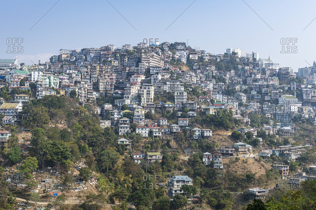 Houses perched on the hills, Aizawl, Mizoram, India, Asia