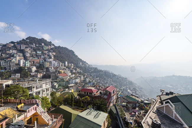 February 17, 2020: View over the houses perched on the hills in Aizawl, Mizoram, India, Asia