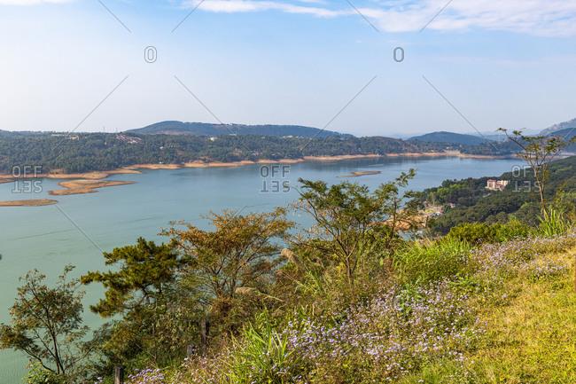 View over Umiam Lake, Meghalaya, India, Asia