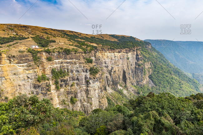 Steep cliffs, East Khasi Hills, Sohra (Cherrapunjee), Meghalaya, India, Asia