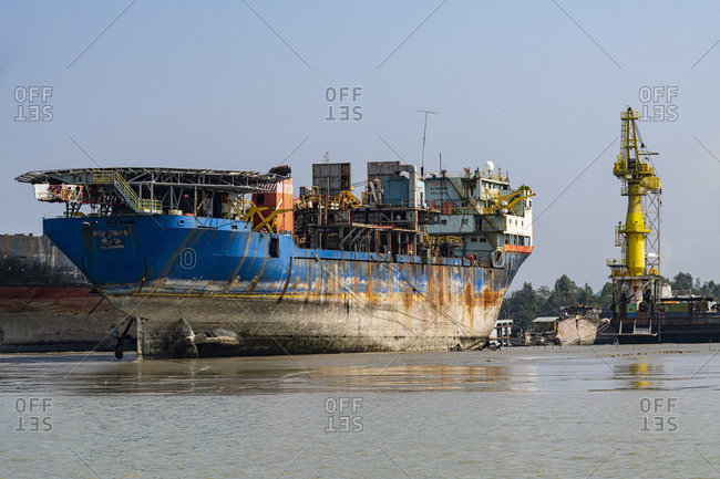 February 28, 2020: Huge container ship ready to be broken up, Chittagong Ship Breaking Yard, Chittagong, Bangladesh, Asia