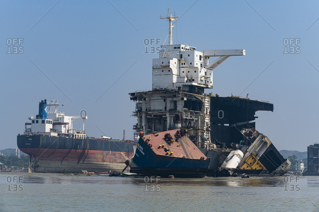 February 28, 2020: Huge container ships ready to be broken up, Chittagong Ship Breaking Yard, Chittagong, Bangladesh, Asia