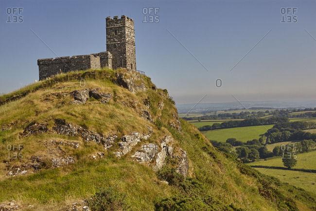 An iconic Dartmoor view of the 13th century St. Michael's Church on Brent Tor, on the western edge of Dartmoor National Park. Devon, England, United Kingdom, Europe