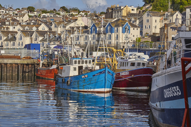 July 20, 2017: Fishing boats tied up in Brixham harbour, the south coast's busiest fishing port, in Torbay, on Devon's south coast, Brixham, Devon, England, United Kingdom, Europe