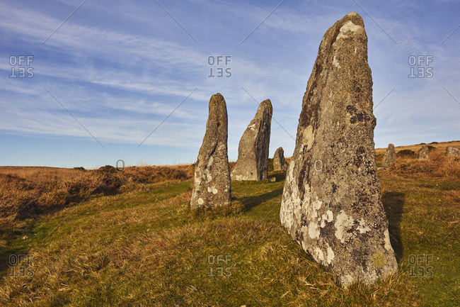 Ancient prehistoric standing stones in a stone circle, Scorhill Stone Circle, Dartmoor National Park, Devon, England, United Kingdom, Europe