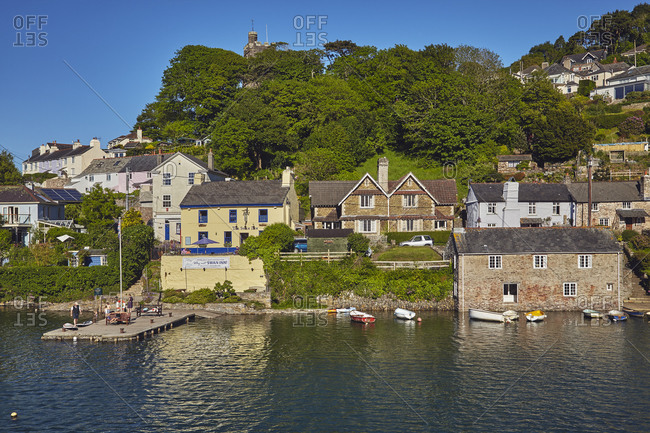 May 25, 2017: A quintessential Devon riverside village of Noss Mayo, on the River Yealm, near Plymouth, on Devon's south coast, Devon, England, United Kingdom, Europe