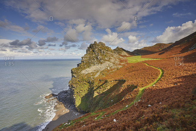 An autumn view of the rugged coastline at the Valley of Rocks, Exmoor National Park, Devon, England, United Kingdom, Europe