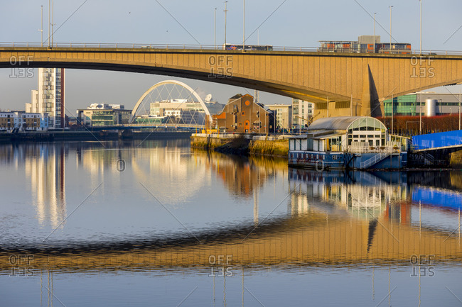 January 19, 2020: Kingston and Clyde Arc Bridges, River Clyde, Glasgow, Scotland, United Kingdom, Europe