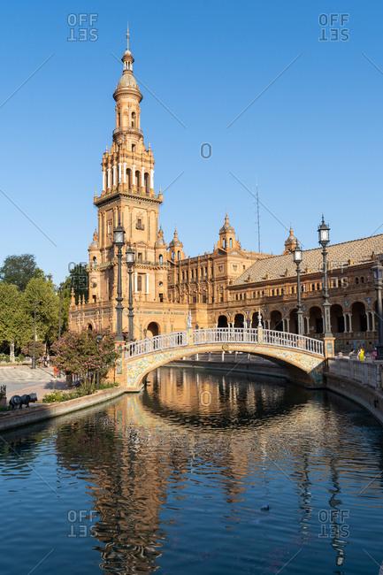 The North Tower of Plaza de Espana, Parque de Maria Luisa, Seville, Andalusia, Spain, Europe