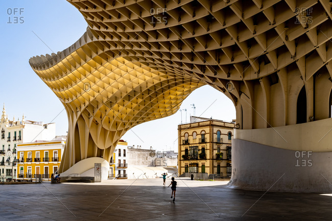 August 11, 2018: The Metropol Parasol, a wooden structure located at La Encarnacion Square, in the old quarter, Seville, Andalusia, Spain, Europe