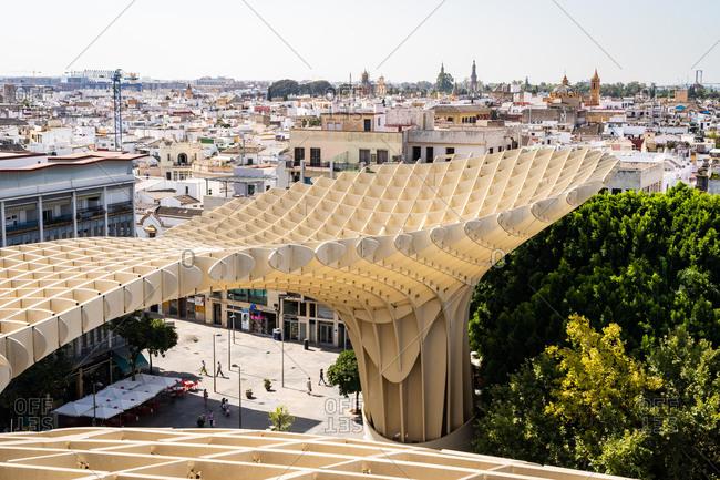 August 11, 2018: The elevated walking platform of Seville's Metropol Parasol in La Encarnacion Square, Seville, Andalusia, Spain, Europe