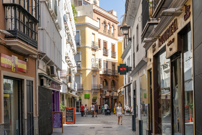August 11, 2018: A pedestrianized shopping street in Seville, Andalusia, Spain, Spain