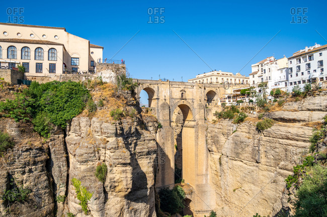 August 19, 2018: Puente Nuevo (New Bridge), the tallest of the three bridges in Ronda crossing the Guadalevin River, Ronda, Andalusia, Spain, Europe