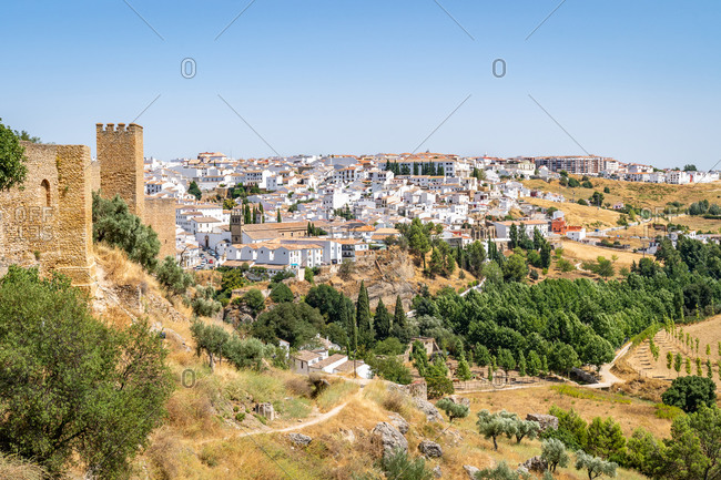 Walls of the Cijara de Ronda, a fortified Muslim defense tower overlooking the Andalusia countryside, Ronda, Andalusia, Spain, Europe