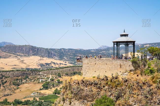 August 19, 2018: Alameda Park and El Balcon del Tajo (El Balcon del Cono) looking out over the Tajo gorge in Ronda, Andalusia, Spain, Europe
