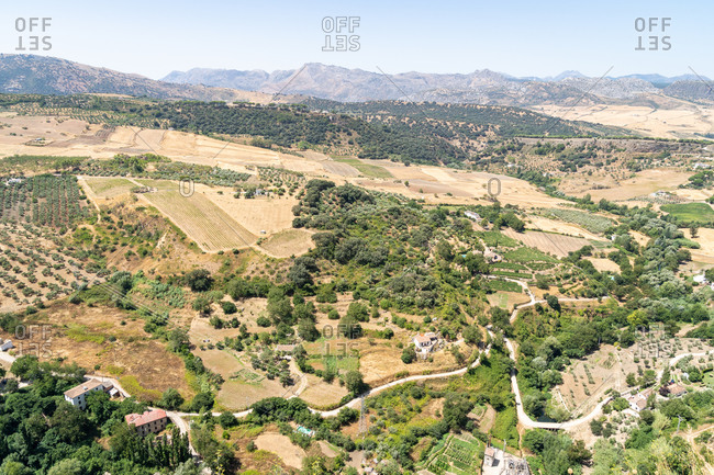 Andalusian countryside viewed from the town of Ronda, Malaga province, Andalusia, Spain, Europe