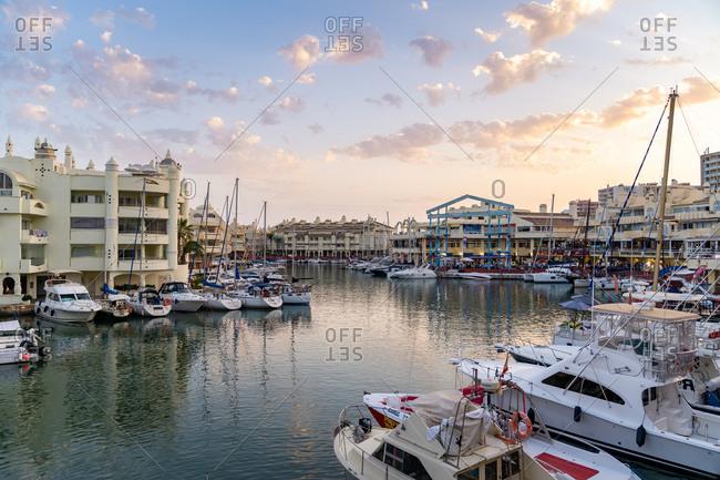 August 19, 2018: Benalmadena's Puerto Marina at sunset sitting between the Costa Del Sol beach resorts of Benalmadena and Torremolinos, Andalusia, Spain, Europe