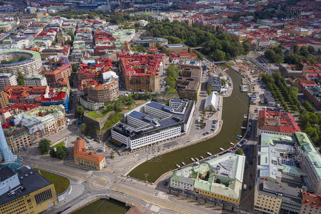 September 7, 2019: Aerial view by drone of Inom Vallgraven old city by the harbor in Gothenburg, Sweden, Scandinavia, Europe