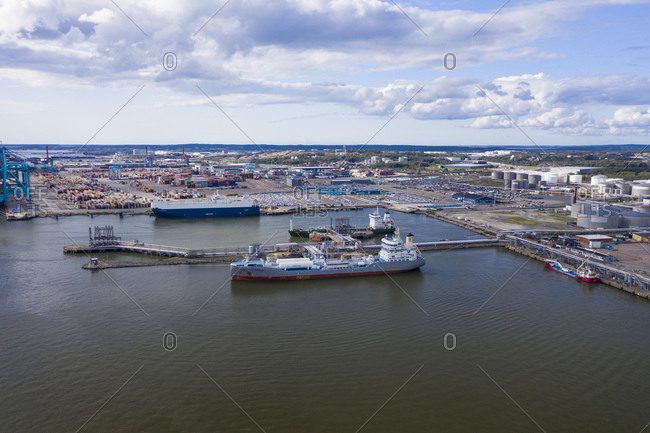 September 8, 2019: Aerial view by drone of the harbor by Volvo factory and museum, Gothenburg, Sweden, Scandinavia, Europe
