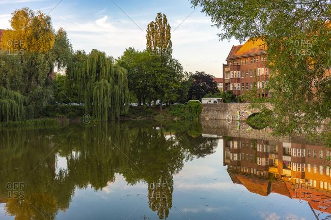 June 18, 2019: Lake Weissensee in East Berlin, Germany, Europe